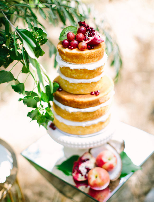 naked cake with cherries
