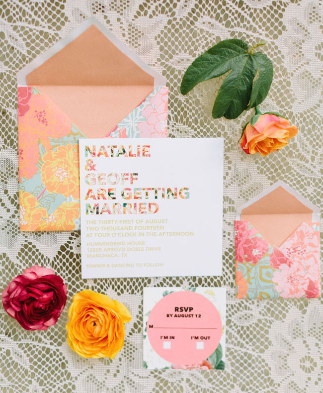 colorful floral and type invitation