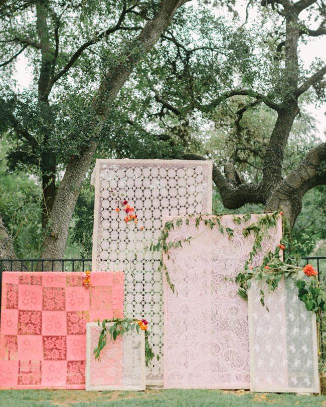 lace panel ceremony backdrop