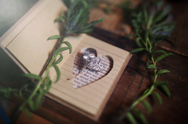 rings in a heart shaped book