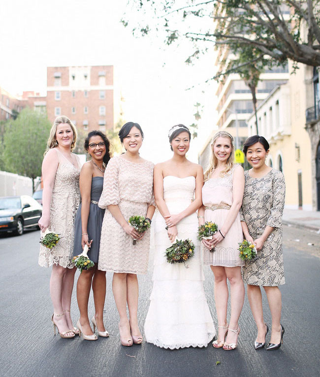 bridesmaids in pinks