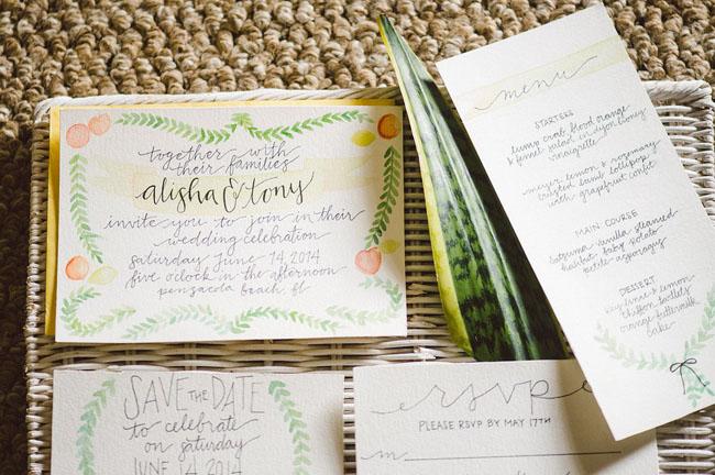 love and citrus invitation