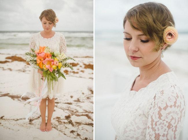 lace dress beach bride
