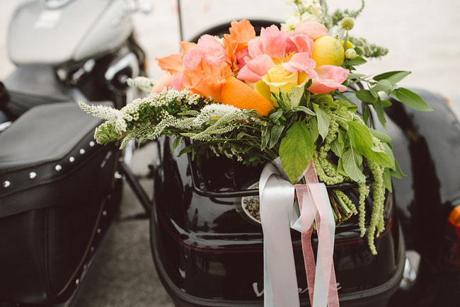 flowers on motorcycle