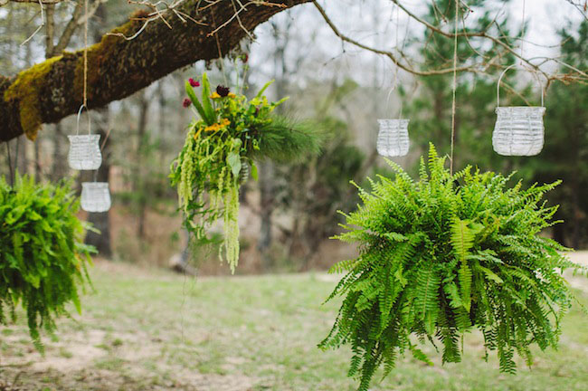 hanging greens ceremony decor