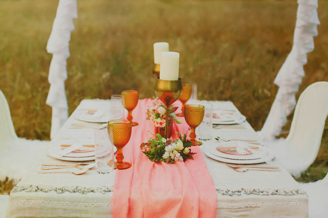 pink boho table runner