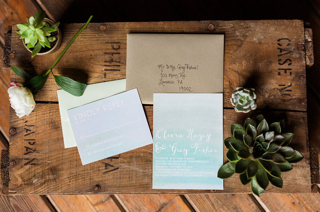ombre mint invitation