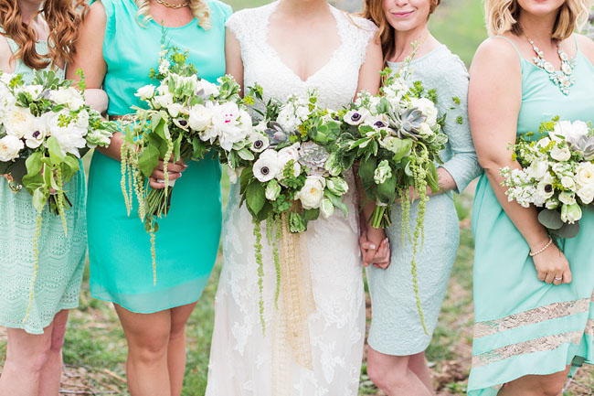 green and white bouquets