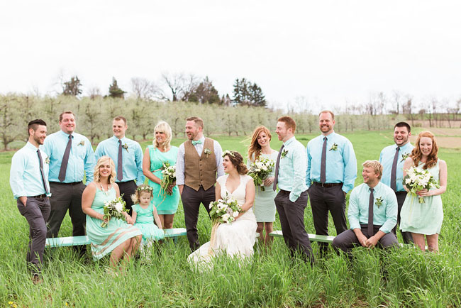 mint wedding party