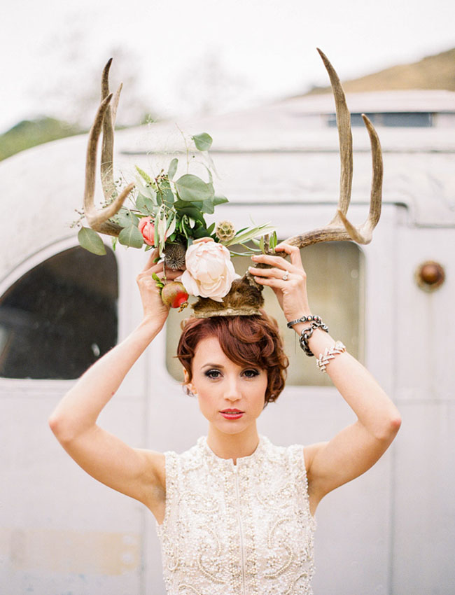 antlers and flowers