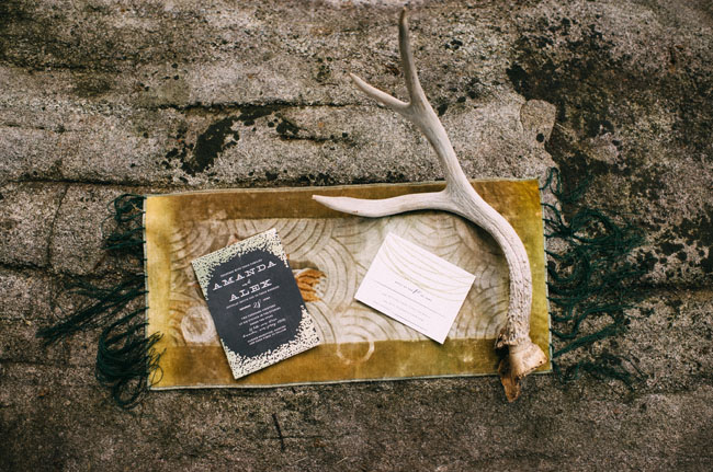 wooded antler invitation