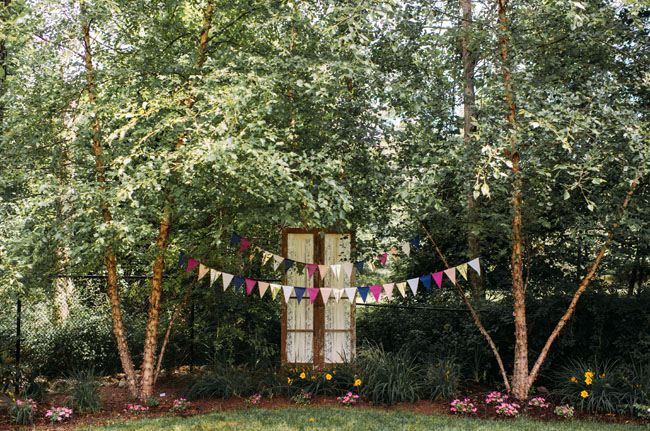 bunting and vintage doors