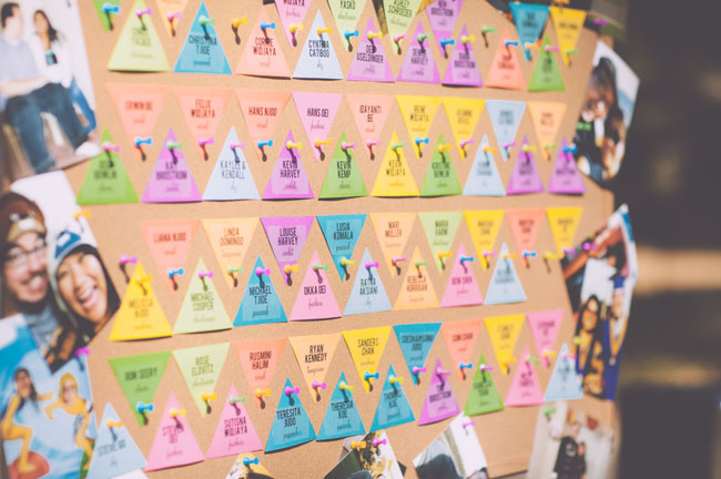 rainbow triangle escort card display