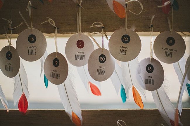 feather tag escort cards
