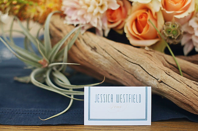blue name card