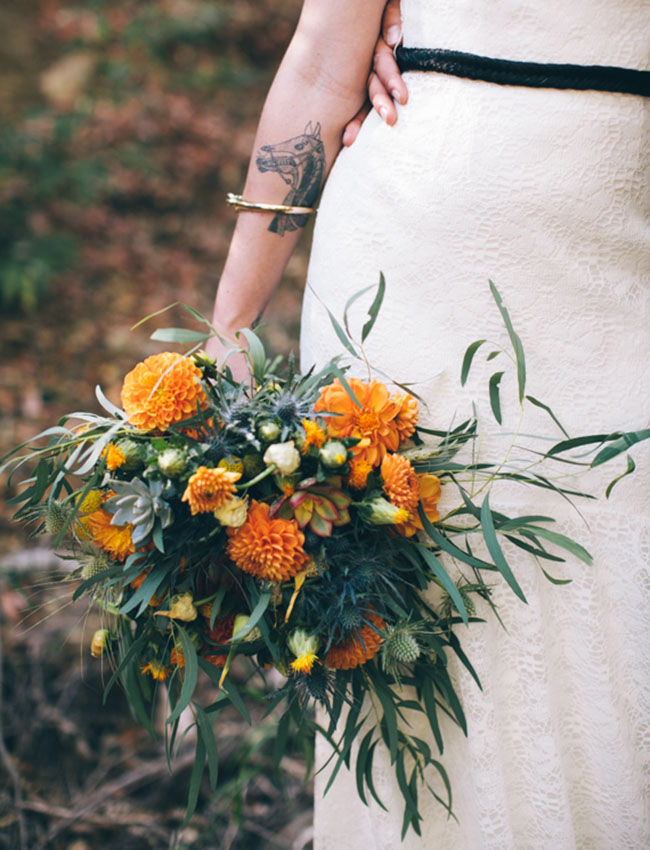 whimsical orange bouquet