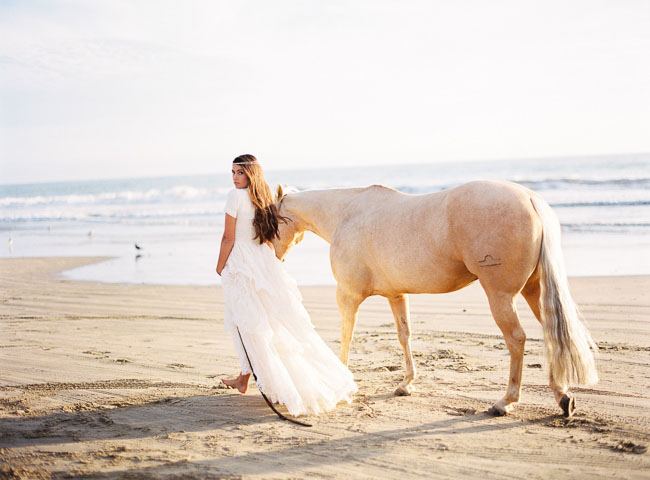 boho beach bride with horse