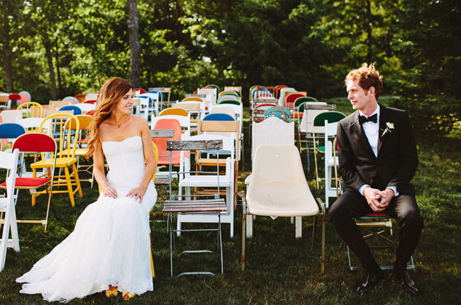 bride and groom with mixed chairs