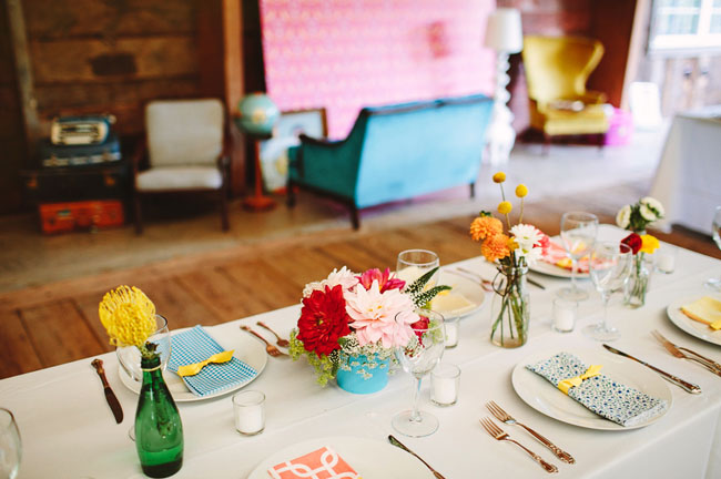 colorful table florals