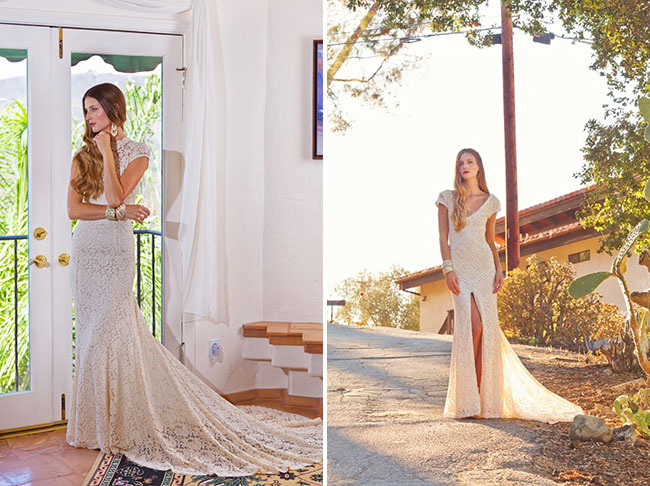 lace slit wedding dress