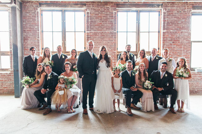 industrial venue wedding party