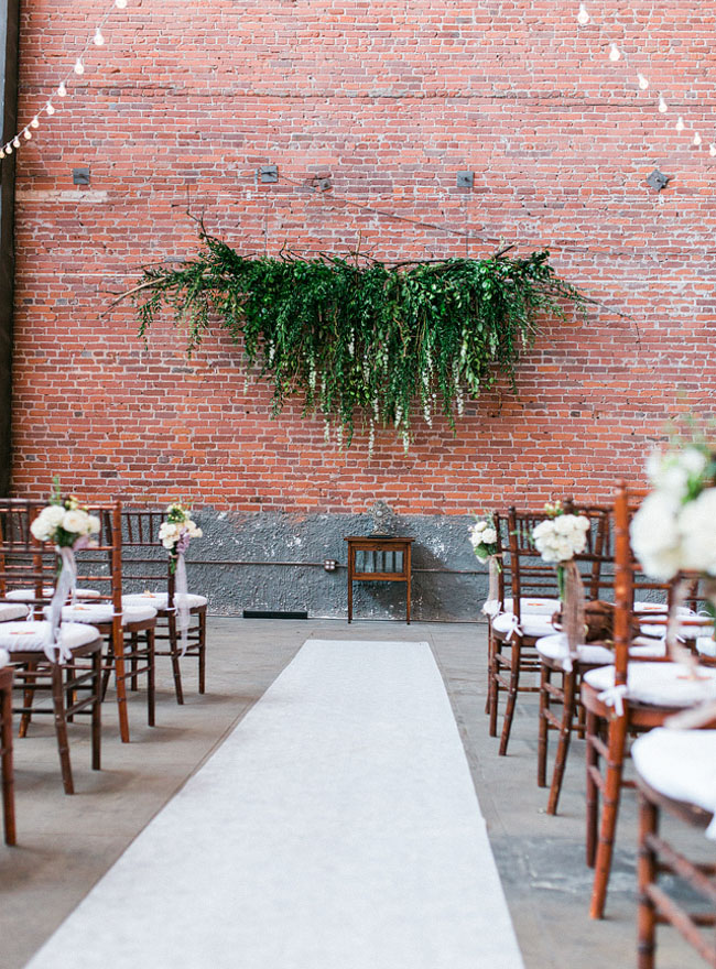 Warehouse Wedding Downtown Los Angeles Hanging Green Garland