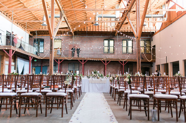 Warehouse Wedding Downtown Los Angeles Hanging Green Garland Venue