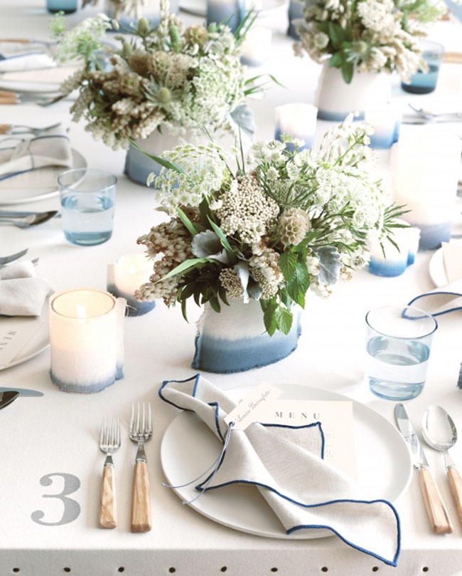 blue dipped vases