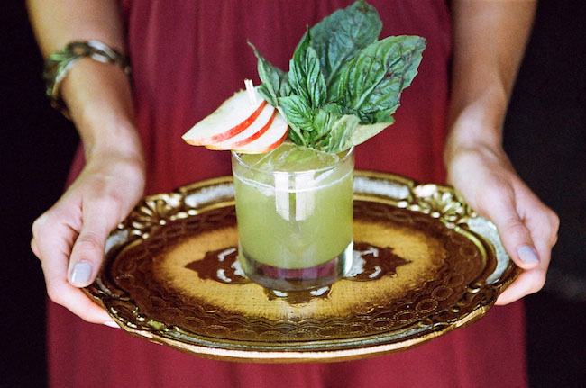 signature cocktail with fruit