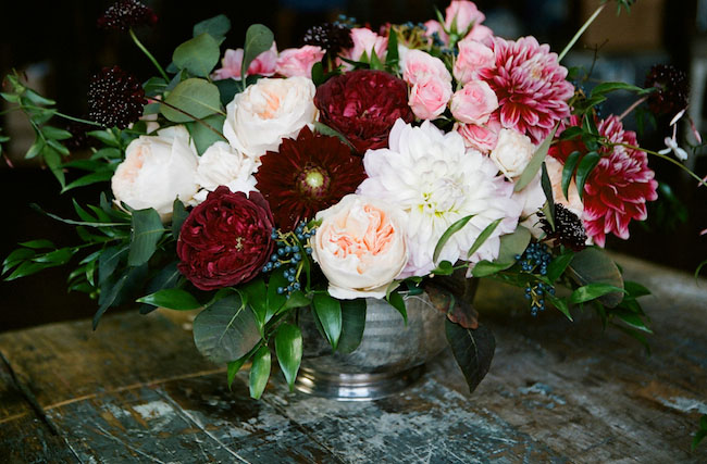 fall garden rose centerpiece