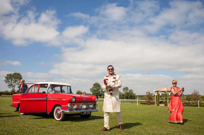 groom with classic car