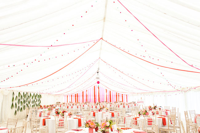 colorful tented reception