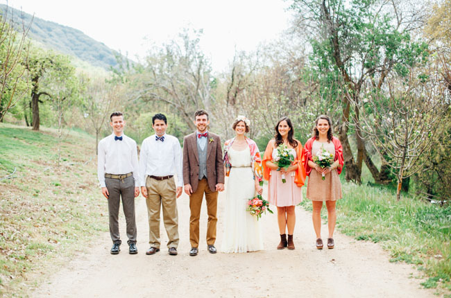 rustic farm wedding party