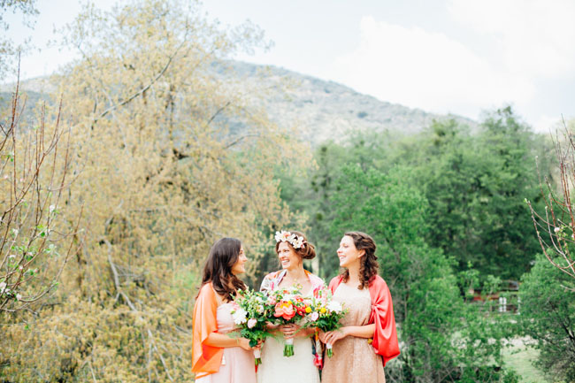 bridesmaids wearing kimonos