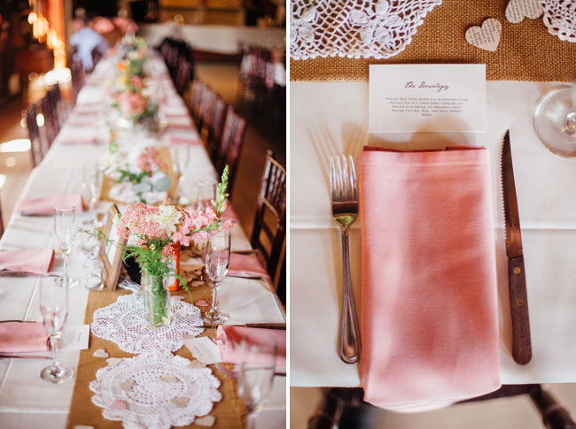 rustic pink napkin