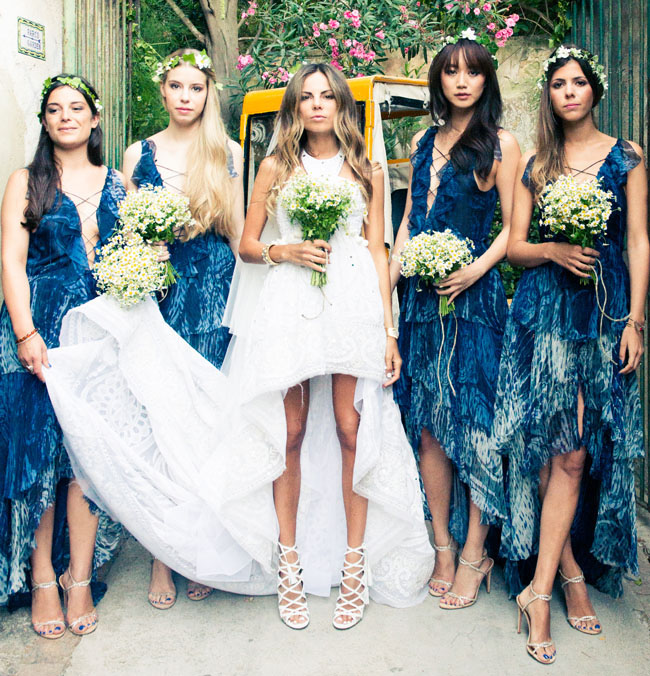 bridesmaids in indigo dresses