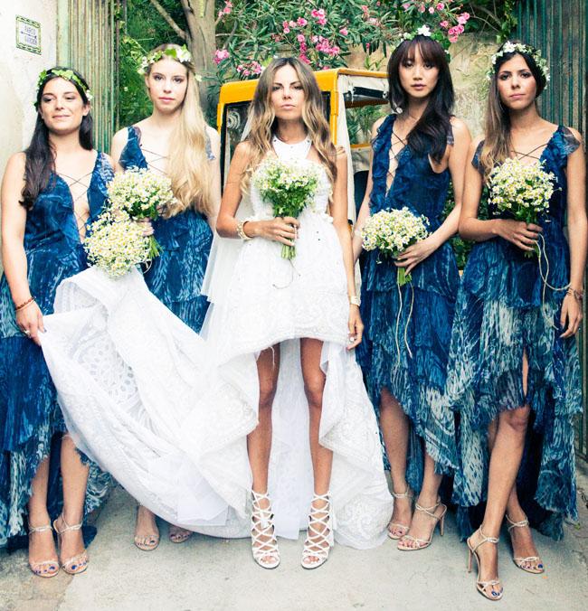 bridesmaids in indigo dresses