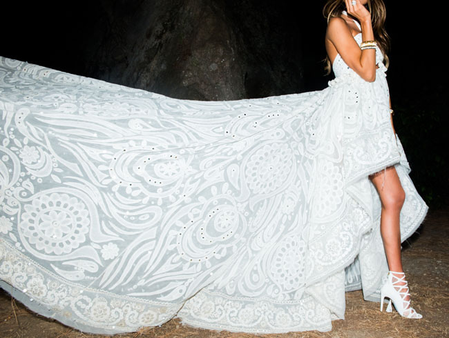 flowing detailed capri gown