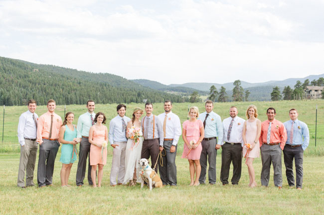 wedding party with pup
