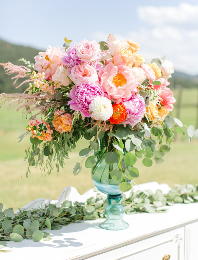 colorful peony ceremony decor