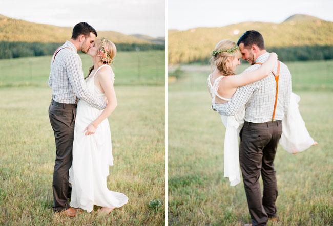 colorado barn bride and groom