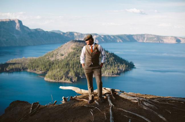 groom over cliff