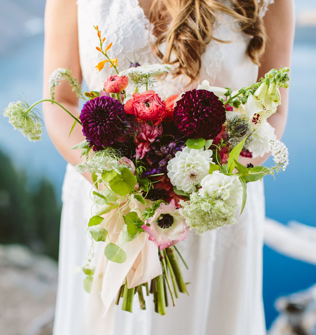 berry colored bouquet