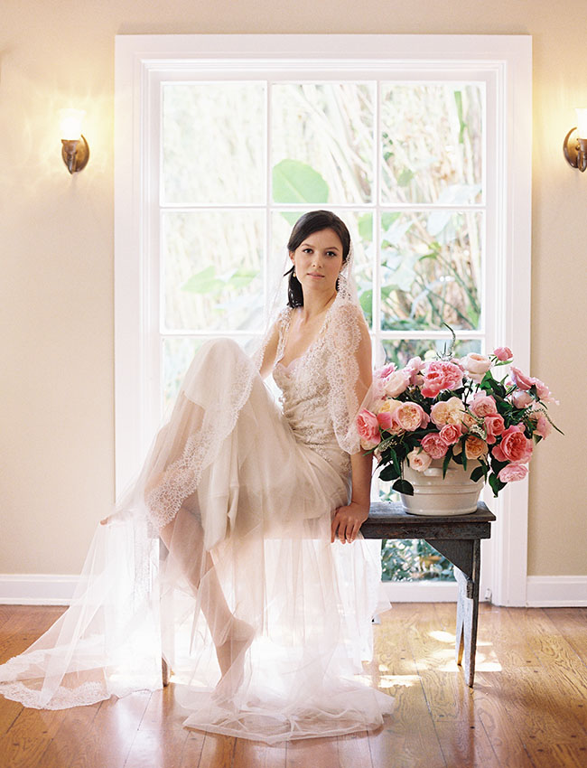 bride with cathedral veil