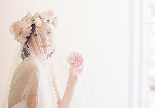 silk flower crown and veil