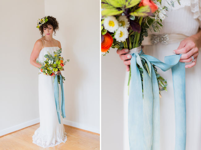 blue ribbon wrapped bouquet