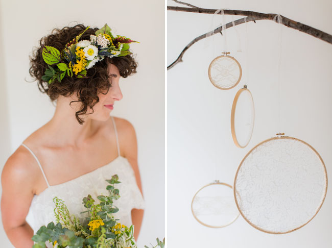 branches with embroidery hoops