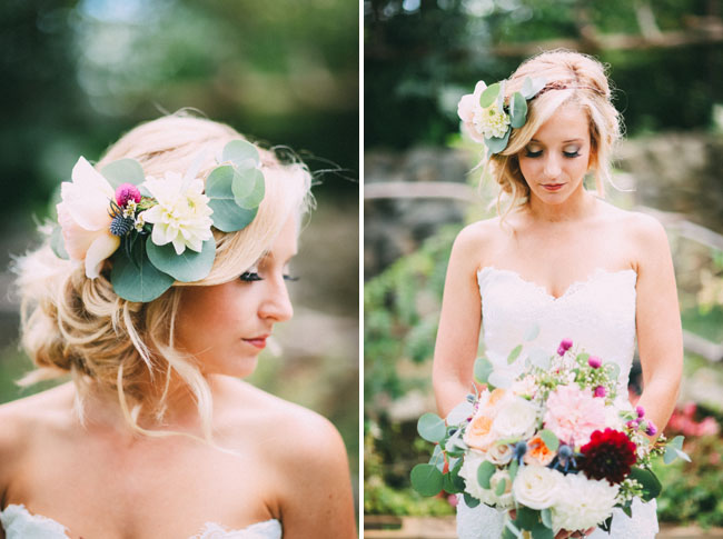 garden inspired flower hair piece