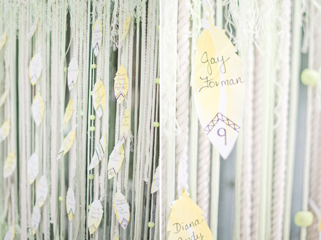 macrame feather escort card display