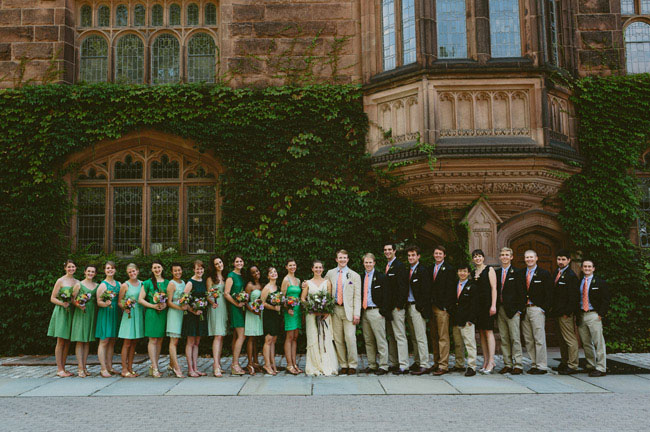green and navy wedding party